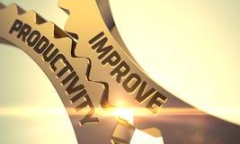 Improve Productivity Concept. Golden Metallic Cog Gears. 3D. Royalty Free Stock Photos