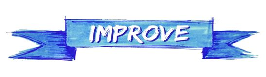Improve ribbon. Improve hand painted ribbon sign royalty free illustration