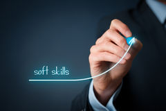 Improve soft skills. Manager (businessman) plan improve his soft skills. Soft skills training and improvement concept Stock Photography