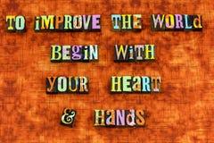 Improve world heart hands start letterpress stock image