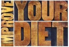 Improve your diet letterpress typography Stock Photos