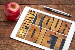 Improve your diet typography. Improve your diet - healthy lifestyle concept - word abstract in vintage letterpress wood type printing blocks on a digital tablet royalty free stock photography