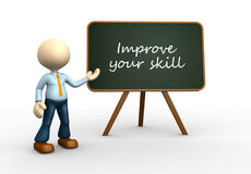 Improve your skill. 3d people - men, person with blackboard and text Improve your skill vector illustration