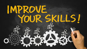 Improve your skills hand drawing on blackboard Royalty Free Stock Image