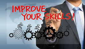 Improve your skills hand drawing by businessman Royalty Free Stock Images