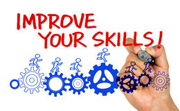 Improve your skills hand drawing on whiteboard Royalty Free Stock Images