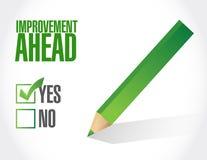 Improvement ahead check mark sign Stock Photo