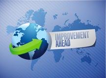 Improvement ahead globe sign illustration Stock Photos