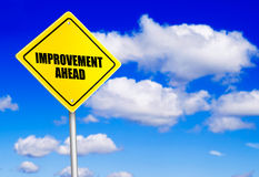 Improvement ahead message on road sign. Over the blue sky stock images