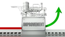 Improvement concept with graph and machine. Improvement concept with graph arrow and machine Royalty Free Stock Photo