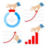 Improvement and development business. Flat vector concept illust. Improvement and development of business. Flat illustration of businessman`s hand with pie chart Royalty Free Stock Image