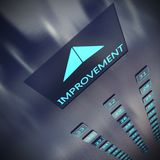 Improvement elevator 3D Rendering. Image of an elevator with written improvement 3D Rendering Royalty Free Stock Photo
