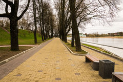 Improvement of the embankment in Pskov. Well-arranged embankment of the Great River in Pskov Stock Images