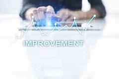 Improvement graph on virtual screen. Business and technology concept. Improvement graph on virtual screen. Business and technology concept Stock Photography