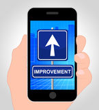Improvement Online Shows Mobile Phone And Advance Stock Images