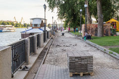 Improvement of road on the waterfront river Don. Laying sidewalk on the waterfront of river Don in Rostov-on-Don, Russia, jule 2016 Stock Photo