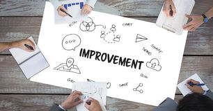 Improvement text by icons and business people on table Royalty Free Stock Photo