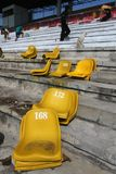 Improves football stadium. Workers improving foootball stadium facility in Manahan, Stadium, Solo, central java, indonesia Royalty Free Stock Photography