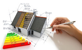 Improving energy efficiency. Hand sketching on an energy efficiency project Stock Photo