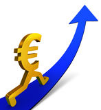 Improving Euro. A gold Euro sign beginning a confident ascent on an up-curving Arrow. Isolated on white with drop shadow Royalty Free Stock Photos