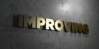 Improving - Gold sign mounted on glossy marble wall  - 3D rendered royalty free stock illustration. This image can be used for an online website banner ad or a Stock Images