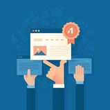 Improving Search Engine Ranking. Modern flat style illustration of SEO concept of developing and improving website ranking so that it ranks highly on search Royalty Free Stock Images