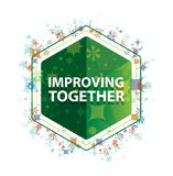 Improving Together floral plants pattern green hexagon button royalty free illustration