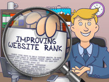 Improving Website Rank through Magnifier. Doodle Style. Improving Website Rank on Paper in Man's Hand through Magnifying Glass to Illustrate a Business Concept Royalty Free Stock Photos