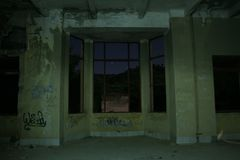 IMPROVISATED OBSERVATORIUM. An improvisated observatorium, on the room of an ancient and haunted abandoned hospital royalty free stock photo