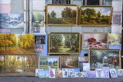 The improvised art gallery on flea market in city center Kiev, Ukraine. KIEV, UKRAINE - OCTOBER 01, 2018 : The improvised art gallery on flea market in city stock images