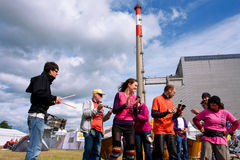 Improvised music show near the Nuclear Power Plant Stock Images