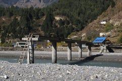 Improvised river crossing, Khanti, Nepal Royalty Free Stock Photography
