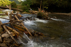 Improvised run-of-stream micro hydro electricity generation. , Laos Royalty Free Stock Image