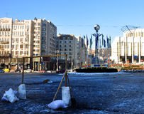 Improvised soccer goal on the square in Kyiv Stock Photos