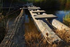 Improvised wooden bridge Stock Photo