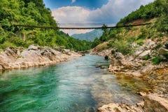 Improvisierte Brücke des Flusses Neretva Lizenzfreies Stockbild
