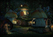 Imps Village by Night, 3d CG. 3d computer graphics of a village with Leprechaun cottages by night Stock Photo
