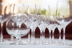 Impty Glasses of vine Royalty Free Stock Image