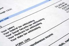 Impuesto e información financiera Foto de archivo libre de regalías