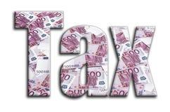 impuesto La inscripción tiene una textura de la fotografía, que representa muchas 500 cuentas de dinero euro stock de ilustración