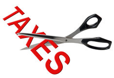 Impuestos de la reducción de impuestos y del corte, aislados Imágenes de archivo libres de regalías
