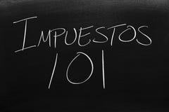 Impuestos 101 Na Blackboard Przekład: Podatki 101 Obraz Royalty Free