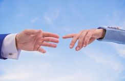 Impulse for cooperation start of partnership. Hand gesture of partnership. Association or integration of company. Beginning of partnership and interaction in stock photography