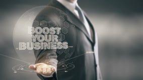 Impulse sus tecnologías disponibles de Holding del hombre de negocios del negocio nuevas metrajes