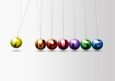 Impulse to action. Newtons ball Royalty Free Stock Photos