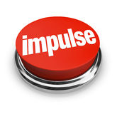 Impulse Word 3d Red Button Emotional Choice Purchase Shopping. Impulse word on a round, red 3d button to illustrate making an emotional, passionate choice based Stock Images
