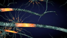 Impulses between neurons. Concept of the function of neurons with electrical impulses 3d rendering