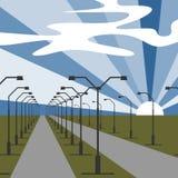 Impulsión de la carretera con las luces en ambos lados Camino del viaje al horizonte debajo del cielo azul con el sol y las nubes ilustración del vector