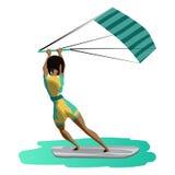 Impulsión de la mujer del Afro en practicar surf de la cometa Visión posterior Fotografía de archivo libre de regalías