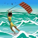 Impulsión de la mujer del Afro en practicar surf de la cometa Visión posterior Windsurf de la muchacha encendido Imagen de archivo libre de regalías